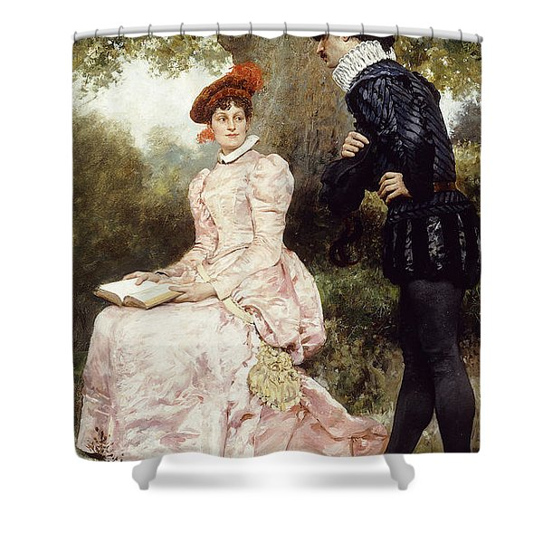 A Courting Couple  Shower Curtain