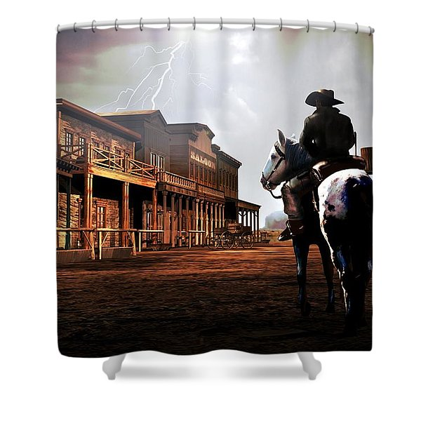 A Cowboy Arrives Old West Townin Time Of A Storm And Lightnings In The Sky Shower Curtain