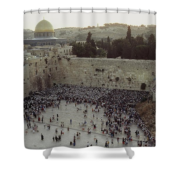 A Crowd Gathers Before The Wailing Wall Shower Curtain