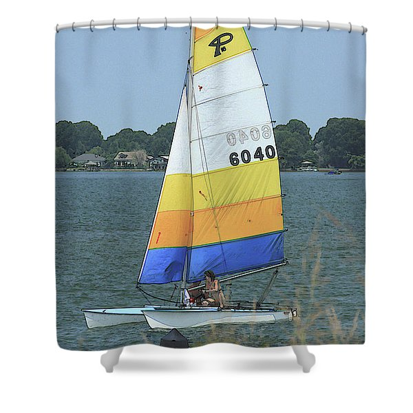 A Day To Sail Shower Curtain by Karol  Livote