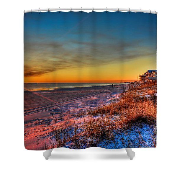 A December Beach Sunset Shower Curtain