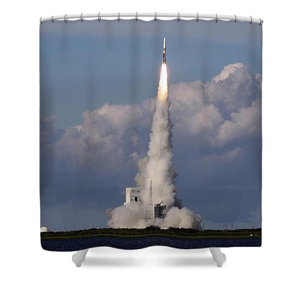 A Delta Iv Rocket Soars Into The Sky Shower Curtain