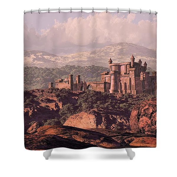 A Distance Medieval Old European Castle Fortress In The Countryside. Shower Curtain