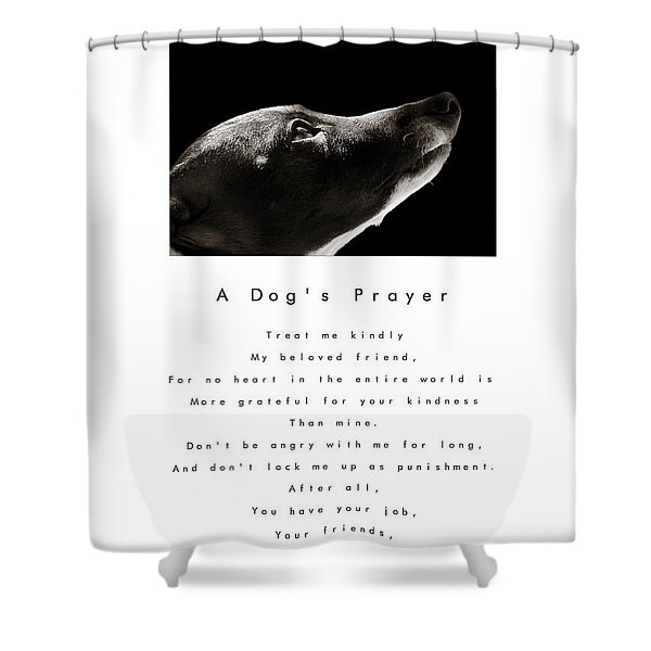 A Dog's Prayer In White  A Popular Inspirational Portrait And Poem Featuring An Italian Greyhound Shower Curtain