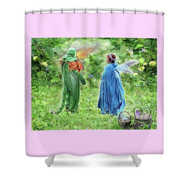 A Dragon Confides In A Fairy Shower Curtain