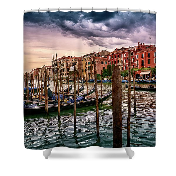 Surreal Seascape On The Grand Canal In Venice, Italy Shower Curtain