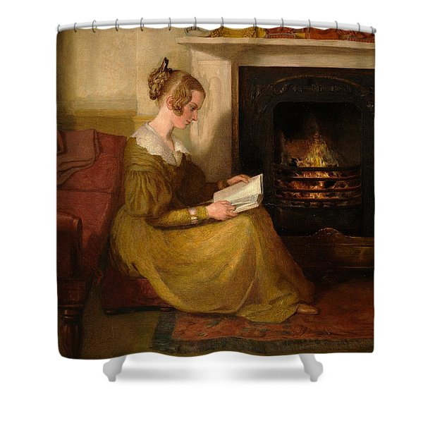 A Fireside Read Shower Curtain