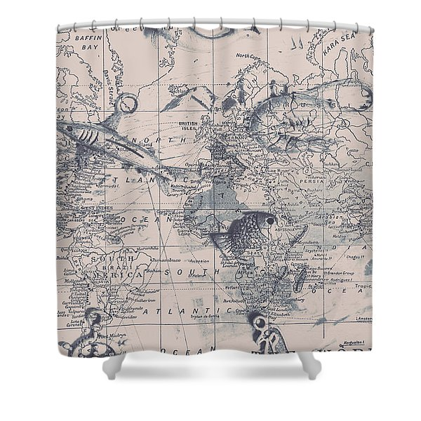 A Fishermans Map Shower Curtain