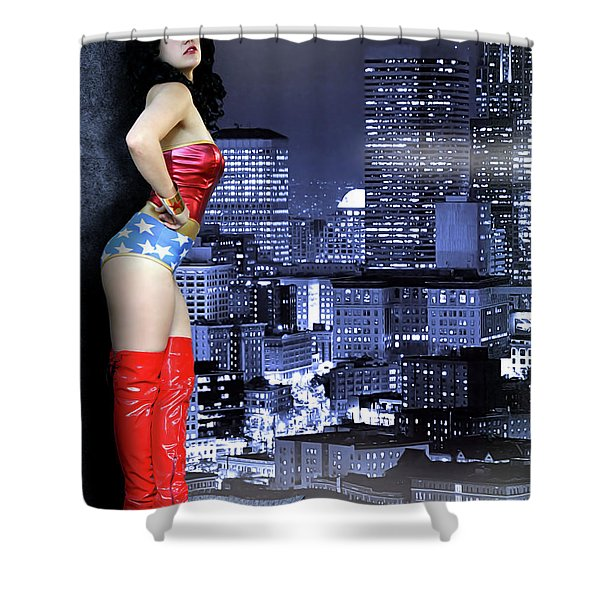 A Flag In The Night Shower Curtain