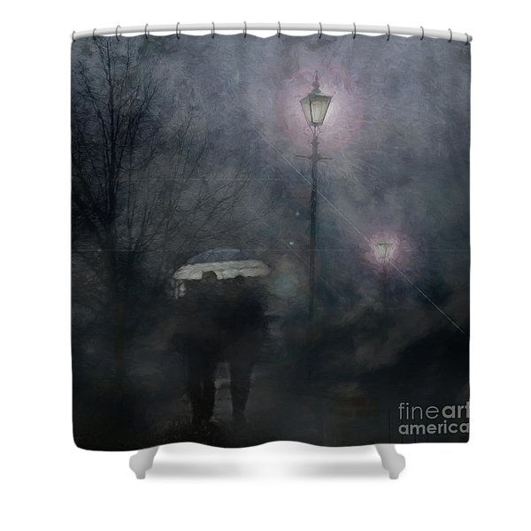 A Foggy Night Romance Shower Curtain
