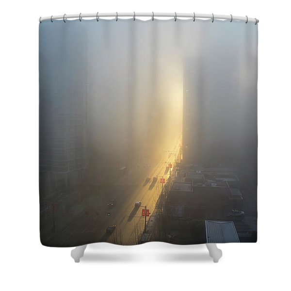 A Foggy Start To The Day In Vancouver Shower Curtain
