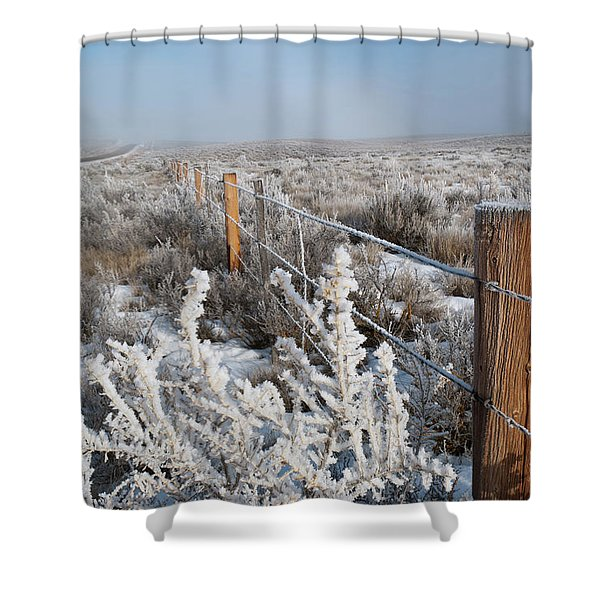 A Frosty And Foggy Morning On The Way To Steamboat Springs Shower Curtain