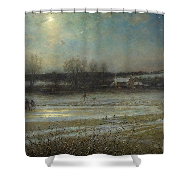 A Frosty Night   The Frozen Mill Pond Shower Curtain