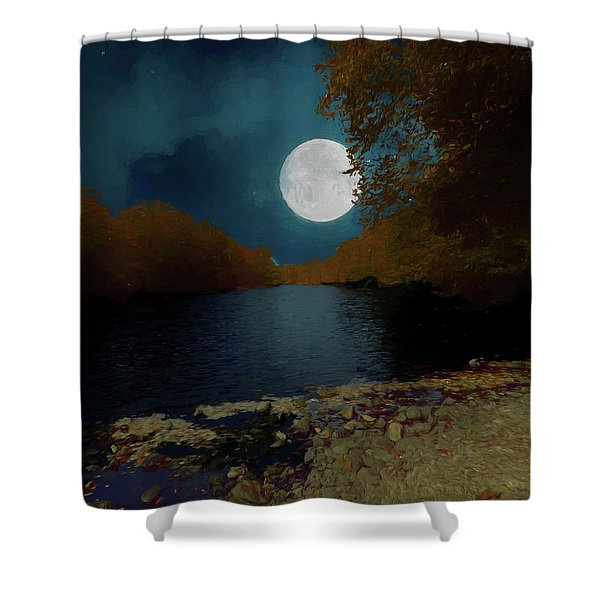 A Full Moon On A River. Shower Curtain