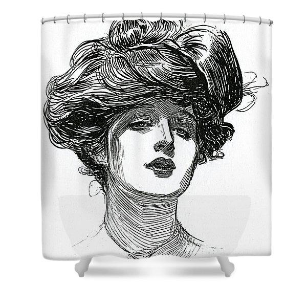 A Gibson Girl, Circa 1902 Lithograph Shower Curtain