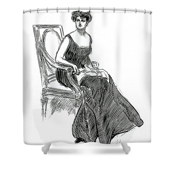 A Gibson Girl Dated 1902 Shower Curtain