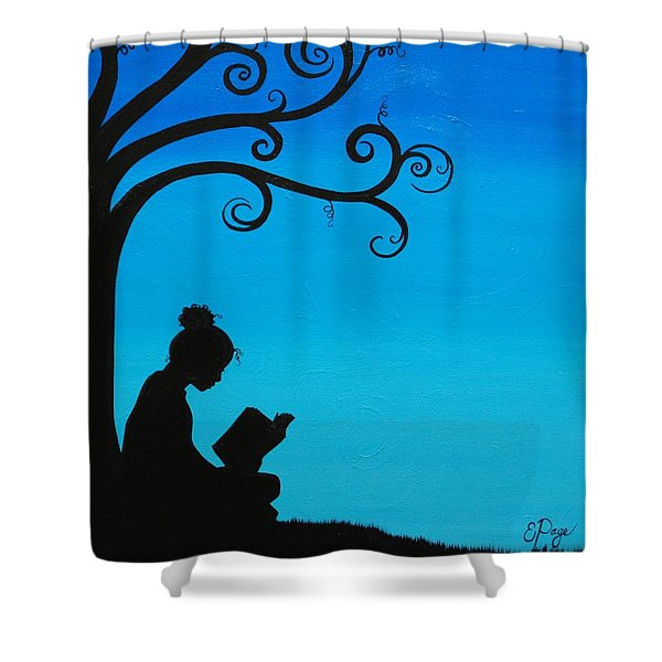 A Girl And Her Book Shower Curtain