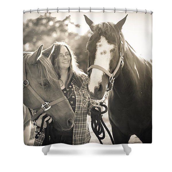 A Girl And Horses In The Sun Sepia Shower Curtain