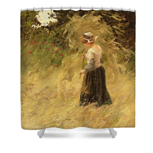 A Girl Harvesting Hay Shower Curtain