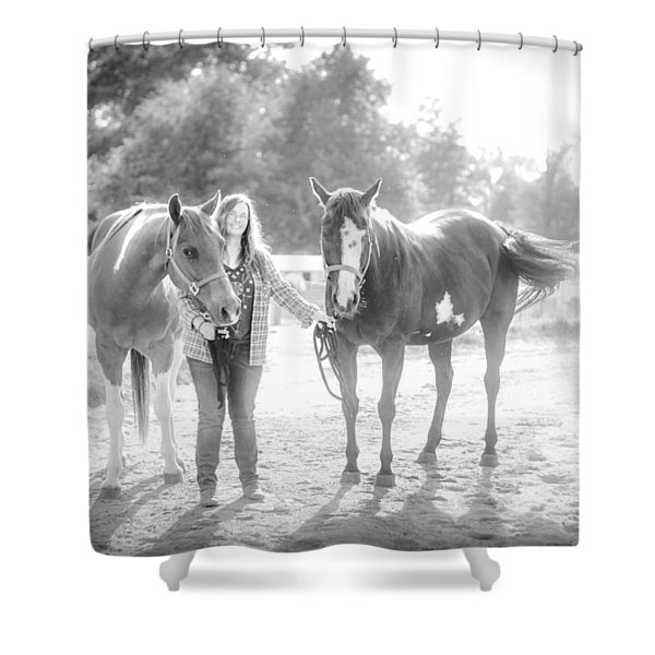A Girl With Horses Shower Curtain