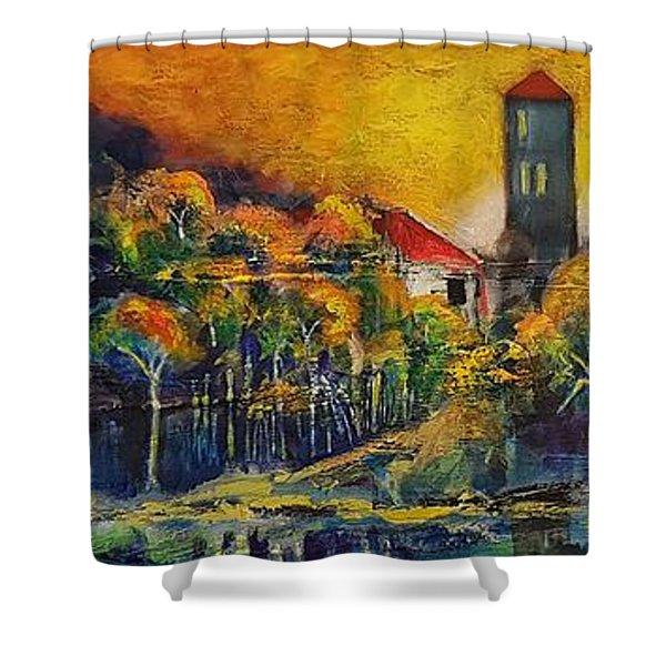 A Golden Day Shower Curtain