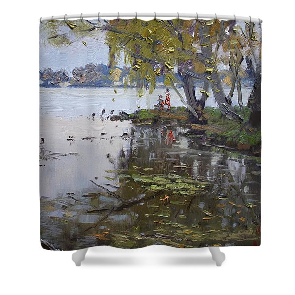 A Gray Rainy Day At Fishermans Park Shower Curtain