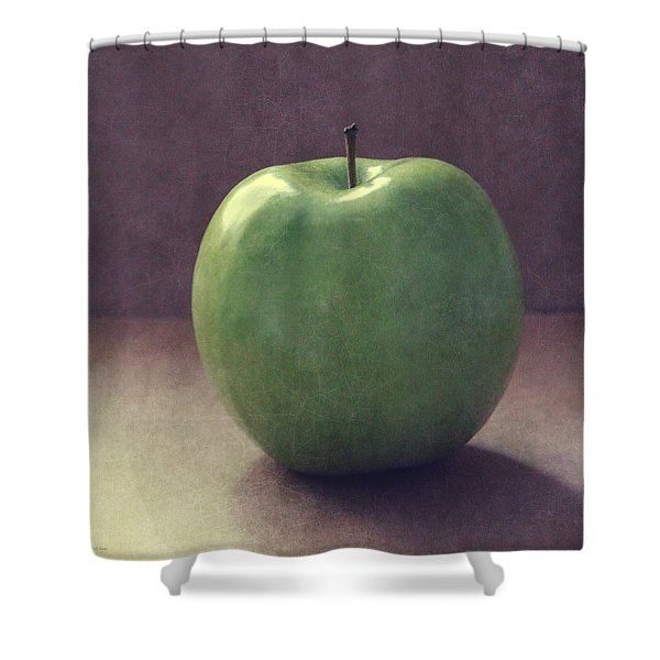 A Green Apple- Art By Linda Woods Shower Curtain