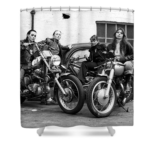 A Group Of Women Associated With The Hells Angels, 1973. Shower Curtain