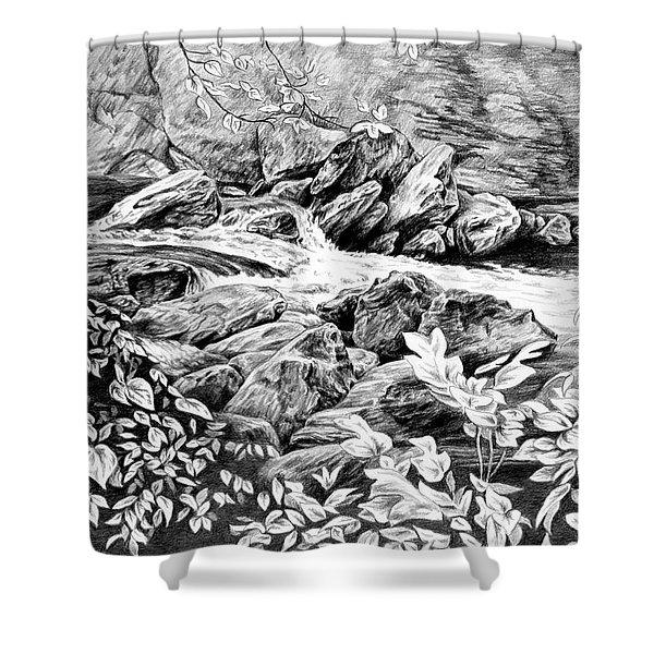 A Hiker's View - Landscape Print Shower Curtain