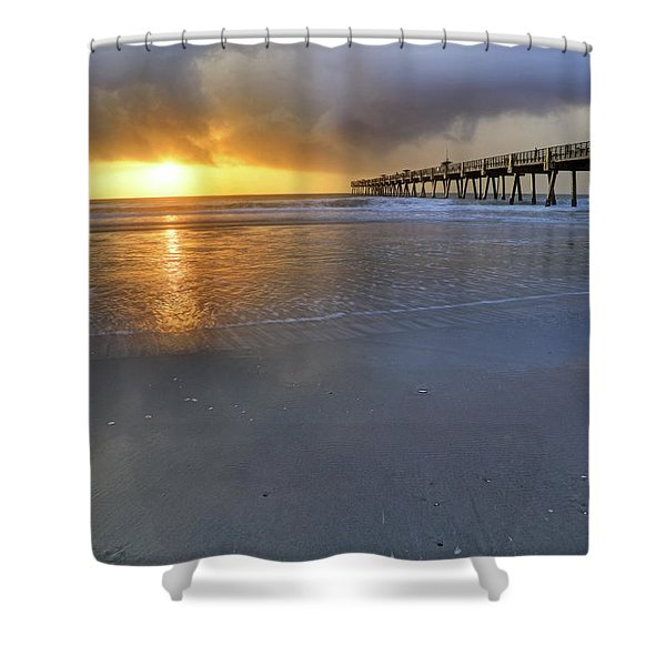 A Jacksonville Beach Sunrise - Florida - Ocean - Pier  Shower Curtain