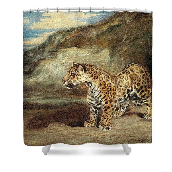 A Jaguar In A Landscape Shower Curtain