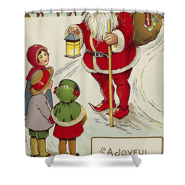 A Joyful Christmas Postcard Shower Curtain