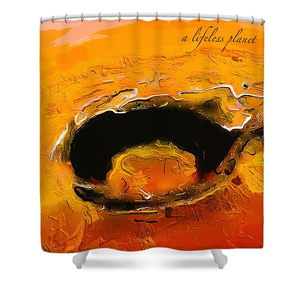 A Lifeless Planet Orange Shower Curtain
