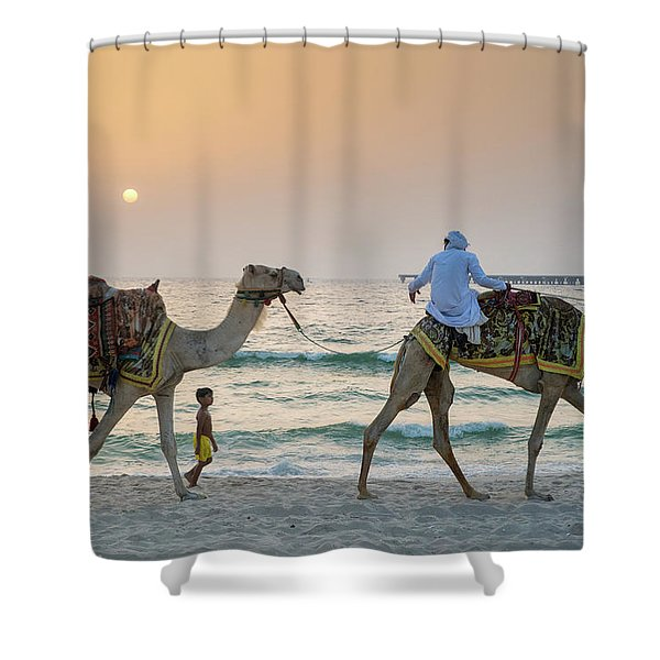 A Little Boy Stares In Amazement At A Camel Riding On Marina Beach In Dubai, United Arab Emirates Shower Curtain