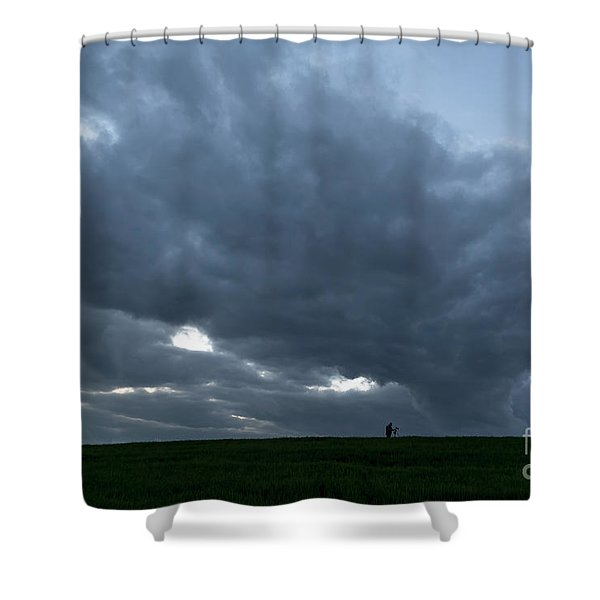 Alone In The Face Of The Storm Shower Curtain