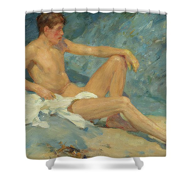A Male Nude Reclining On Rocks Shower Curtain