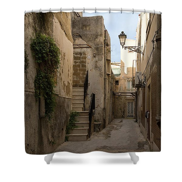 A Marble Staircase To Nowhere - Tiny Italian Lane In Syracuse Sicily Shower Curtain