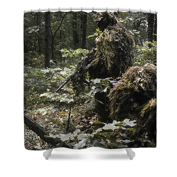 A Marine Sniper Team Wearing Camouflage Shower Curtain