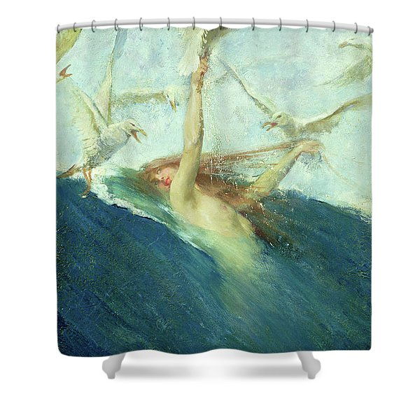 A Mermaid Being Mobbed By Seagulls Shower Curtain