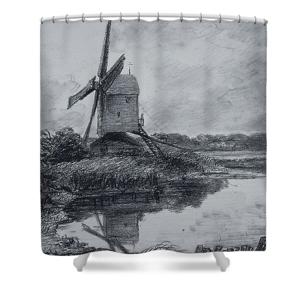 A Mill On The Banks Of The River Stour Charcoal On Paper Shower Curtain