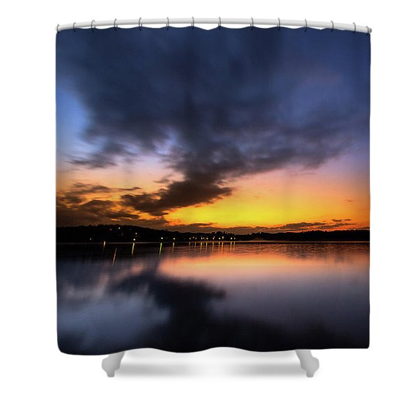 A Misty Sunset On Lake Lanier Shower Curtain