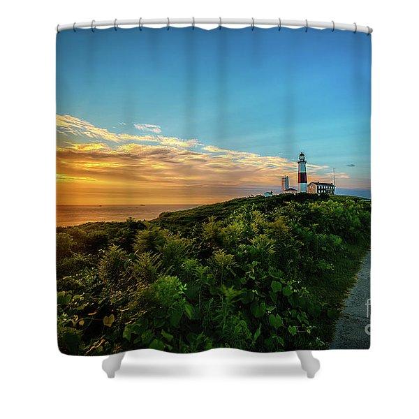 A Montauk Lighthouse Sunrise Shower Curtain
