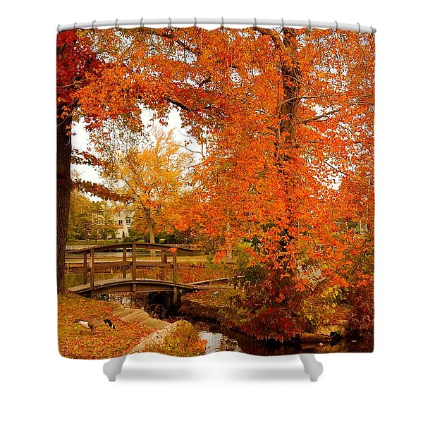 A Morning In Autumn - Lake Carasaljo Shower Curtain