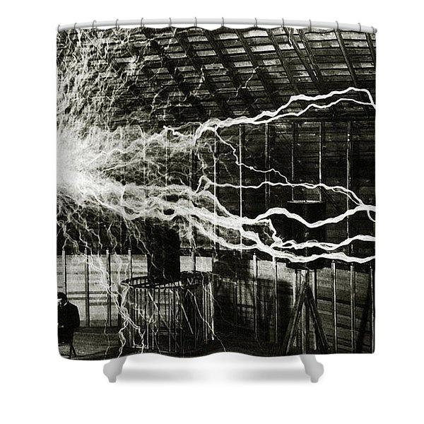 A Multiple Exposure Picture Of Tesla With His Magnifying Transmitter Shower Curtain