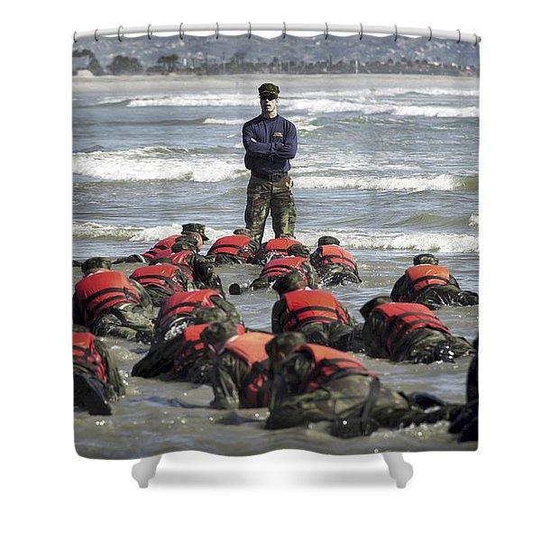 A Navy Seal Instructor Assists Students Shower Curtain by Stocktrek Images