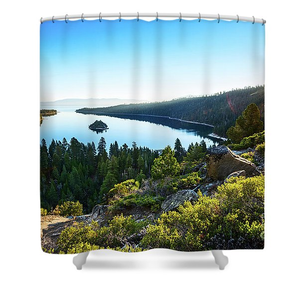 A New Day Over Emerald Bay Shower Curtain