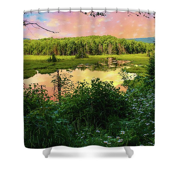 A New England Bog. Shower Curtain