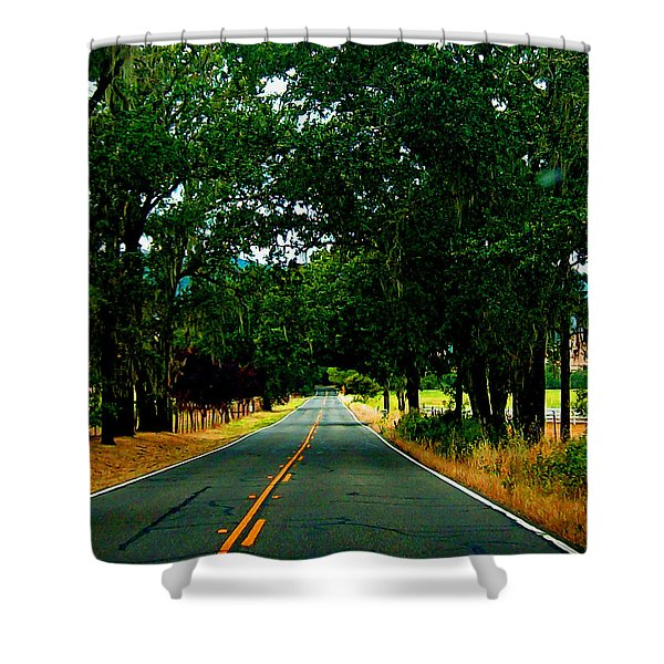 A Nor Cal Country Road Shower Curtain