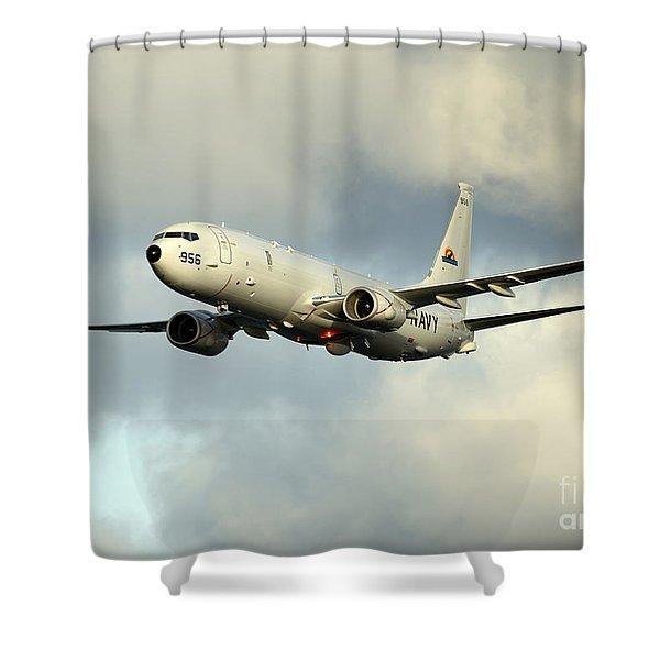 A P-8a Poseidon In Flight Shower Curtain
