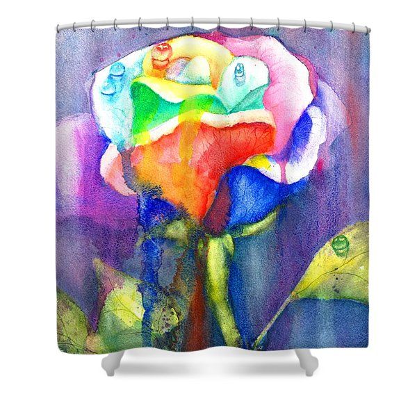 A Painted Rose In The Rain Shower Curtain